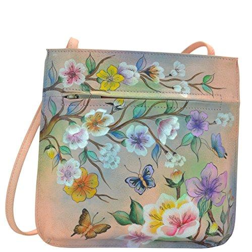 Anuschka Quirky Handpainted Mini Cross Body Bag, Japanese Garden