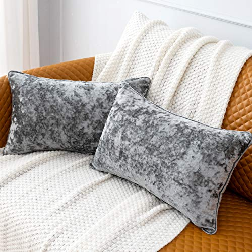 HORIMOTE HOME Pack of 2 Crushed Velvet Rectangle Grey Cushion Covers for Sofa Bed Chair, Decorative Cushions Case Pillow Covers for Livingroom Couch Car 30x50cm