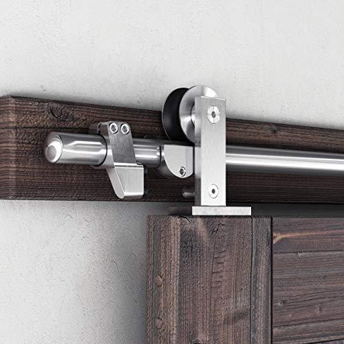 "SMARTSTANDARD 6.6 Feet Top Mount Sliding Hardware Kit-Stainless Steel Heavy Duty Sturdy Barn Track-Simple and Easy to Install-Fit 36'-40"" Wide Door Panel (T Shape Hanger)"