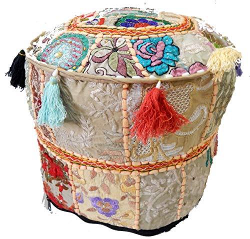 iinfinize Puf de patchwork bohemio indio, puf otomano vintage indio, taburete de pie, puf redondo, puf de piso, taburete de silla de puffe de piso, puf étnico bordado 22x18 Puf sala de estar otomana