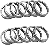 Rust Resistant Silver Mason Jar Replacement Rings or Tops Durable and Rustproof Aluminum Metal Bands/Rings for Mason Ball Canning Jars, Dishwasher Safe and BPA Free (Pack of 12, Regular Mouth)