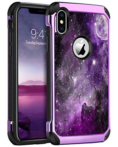 BENTOBEN iPhone X/10 Case, iPhone Xs Case, Slim Shockproof 2 in 1 Hard PC Soft Bumper Dual Layer Hybrid Protective Phone Cases Cover for iPhone X (2017) / iPhone Xs (2018) 5.8 inch, Purple Nebula