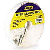 ATack White Butyl Seal Tape 1/8-Inch x 3/4-Inch x 30-Foot Leak Proof Putty Tape for RV Repair, Window, Boat Sealing, Glass and EDPM Rubber Roof Patching
