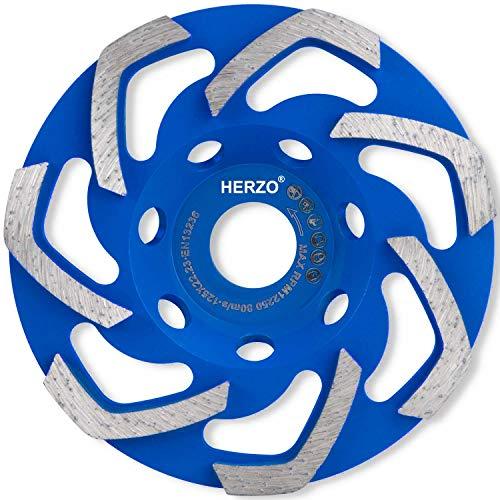 HERZO Disco Desbaste Diamante 125 x 22,23 mm. Muela para amoladoras angulares.para Hormigón, Granito, Piedra, Mampostería