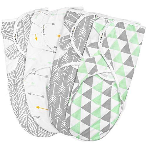 BaeBae Goods Lot de 4 couvertures d'emmaillotage réglables en Coton Doux