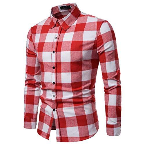 Herren Hemden Slim fit herrenhemden Langarm Mode Business Freizeit Langarm karohemd Shirt Tops Bluse CICIYONER