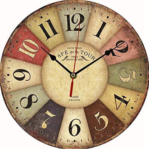 WHK Reloj de Pared Redondo de Madera de 30 cm, Reloj de Pared de Madera MDF Vintage, Reloj silencioso Retro rústico, decoración de Reloj de Pared Grande