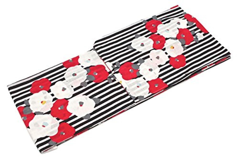 (ソウビエン) レディース浴衣 黒 ブラック 白 赤 椿 縞 ストライプ モダン ラメ 綿 変わり織り