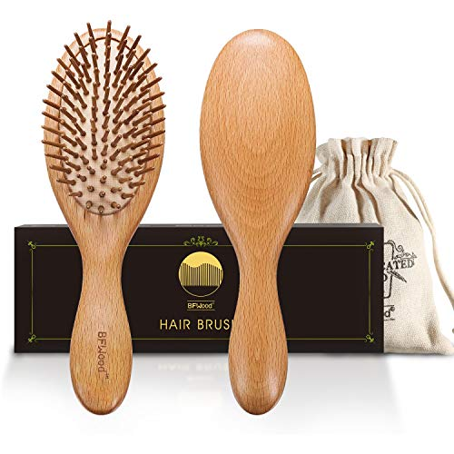 BFWood Haarbürste zum Entwirren von dickem und lockigem Haar – Holzgriff mit abgerundeten Holzborsten,MEHRWEG