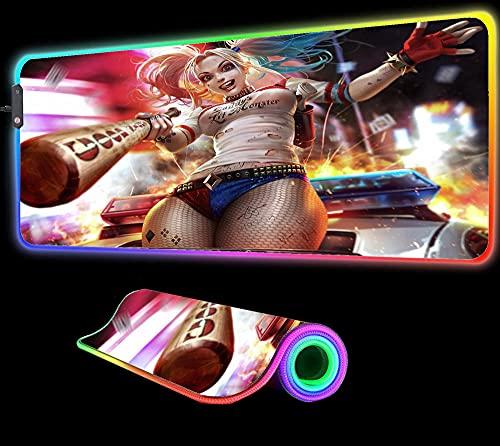 Anime Girl Clown Gaming Mouse Pad RGB Laptop XXL Gamer Desktop Pad LED Pc Gaming Accessories avec Rétro-Éclairage, 800X300X4 mm