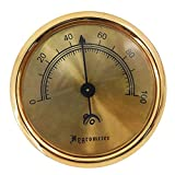 Cigar Hygrometer - Metal High Precision Round Analog Hygrometer with 3M Double Sided Tape - Size (2.95 * 2.95 * 0.6in) Gold