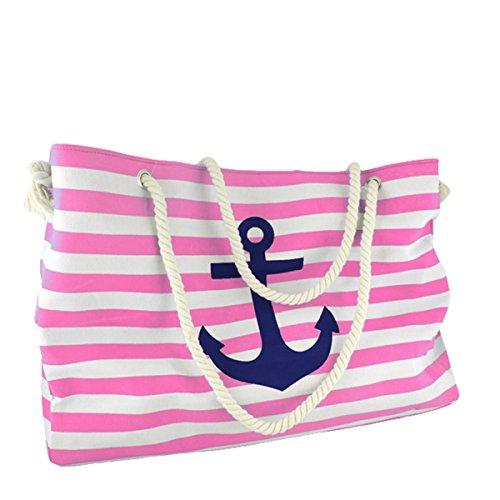 Sonia Originelli XXL Familien Strandtasche Anker Katja Maritim Bag Farbe Rosa-Marine