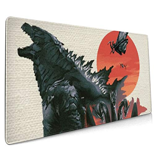 Monster Godzilla Extended Gaming Mouse Mat, DIY Custom Professional Mouse Pad (35.5x15.8In), Stitched Edges,Desk Pad Keyboard Pad Mat, Water-Resistant, Non-Slip Base, for Work & Gaming, Office & Home