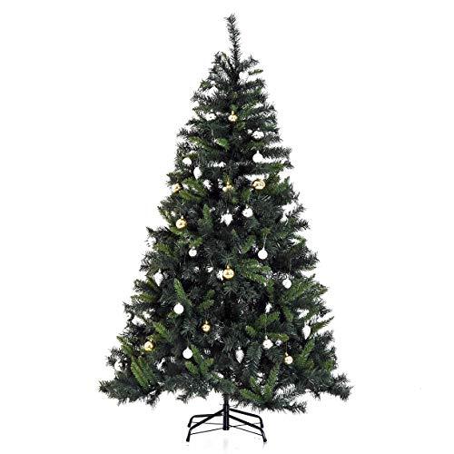 HOMCOM Árbol de Navidad Artificial Árbol 180cm con Soporte 745 Ramas 200 Luces LED con Color Blanca Cálida Adornos Incluidos Verde PVC
