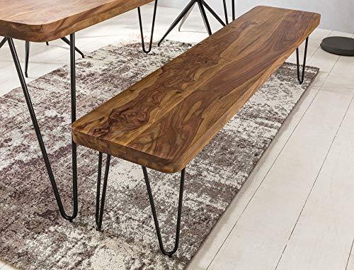 KADIMA DESIGN Esszimmer Sitzbank Bali Massiv-Holz Sheesham Holz-Bank Natur-Produkt Küchenbank im Landhaus-Stil HxBxT: 45x120x40cm