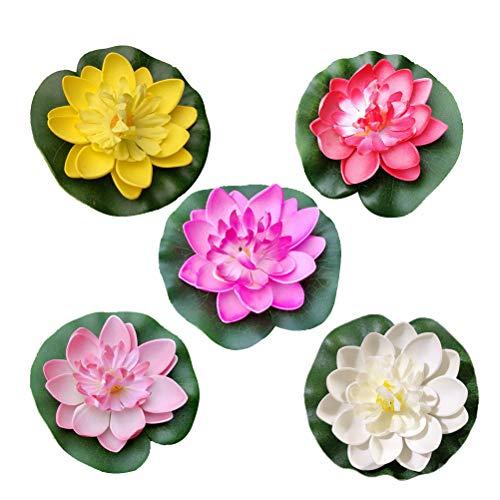 Amosfun Künstliche Lotus Blume Kunststoff Schwimm Blume für Teich Aquarium Pool Ornamente 10 cm 5 Stück