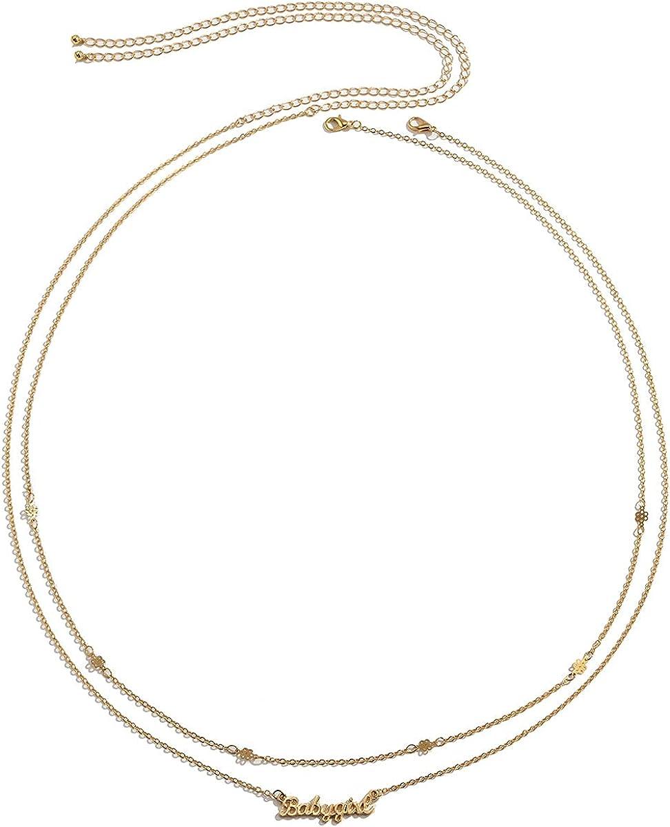 Lorevery 2Pcs Cute Layered Initial Gold Body Chain Sexy Beach Bikini Belly Chain Dainty Waist Chains Jewelry for Women Girls