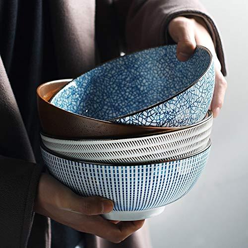 PPuujia Cuenco de mezcla japonés Ramen Bowl de cerámica para fideos, diseño de rayas, gran tazón de sopa, restaurante, hogar, retro, vajilla (color: D)