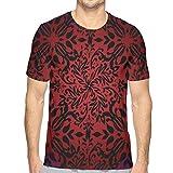 Mens T-Shirt,Tribal Mandala Ethnic Oriental Design Flowers and Leaves Frame Image L