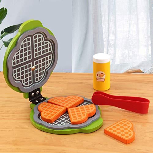 Juegue Accesorios de Cocina - Juego de Fabricantes de Waffle de Madera, fomenta el Juego imaginativo, 7 Piezas, Creadores de Waffle de Juguete para niños, diversión y Colorido para niñas y niños.