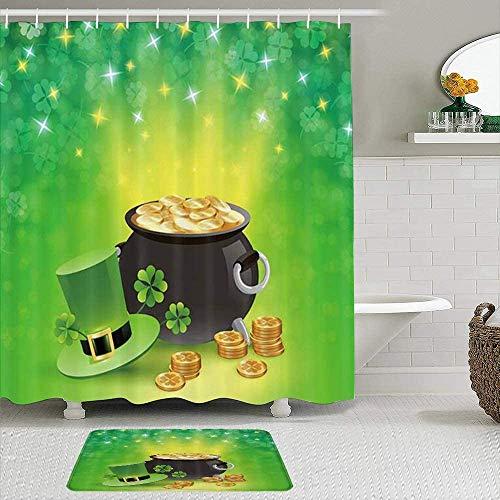 Shower Curtain-Irish Elf Leprechaun Hat Spring Festival St Patricks Holiday Gold Coin Pot Leaves with Sparkling Clover,Bathroom Shower Curtains Bathroom Decor 72x72