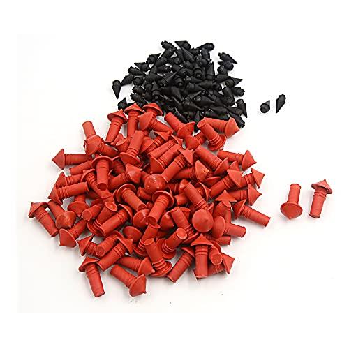 uxcell 170Pcs Universal Mushroom Shaped Tire Repair Insert Plugs Red Black