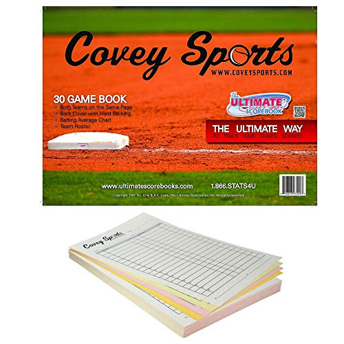 Covey Sports Baseball Softball Scorebook and Lineup Card Bundle, 30-Game Side by Side Scorekeeper Book Bundled with Large Oversized Lineup Cards Pack (30 Cards)