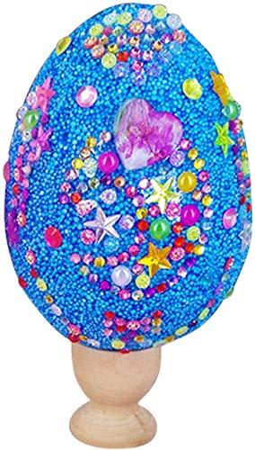 Huevos de Pascua Colorida Huevos Plásticos,Huevos de purpurina hechos a mano para niños, Huevos sorpresa de plástico,Pegatinas de Diamantes de Imitación para niños Manualidades de Actividades-Azul
