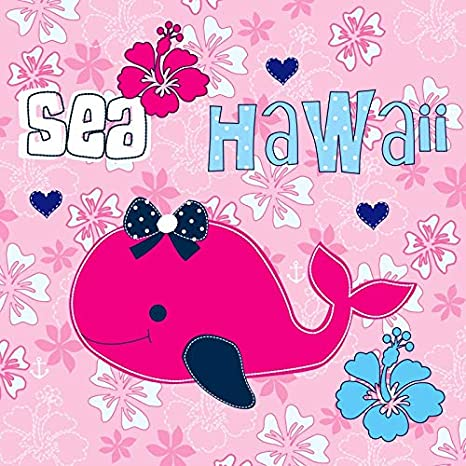 Leowefowa 6x6ft Vinyl Photography Backdrop Hawaii Sea Baby Shark Background Flowers Baby Girl Photo Background for Party Decoration Baby Kids Portrait Photo Shoot Background Video Studio Props