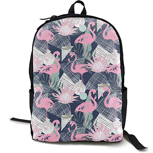 XCNGG Mochila de impresión de fotograma Completo para Adultos Mochila Informal Mochila Mochila Escolar Casual Large College School Daypack - Laptop Outdoor Backpack Pink Flamingo and Leaves St