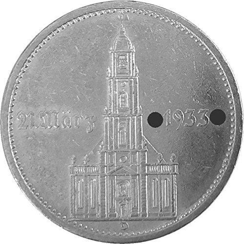 Münzen 5 Reichsmark Deutschland, 1934 D, Eröffnung des Reichstages - Garnisonskirche (J.: 356) Vorzüglich, mit Datumsangabe