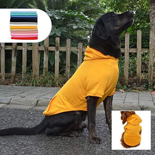 lovelonglong Blank Basic Hoodie für Hunde, 100% Baumwolle, 12 Farben, 11 Größen passend für kleine mittelgroße Dackel große Hunde, XXXL, Orange