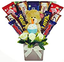 The 'Happy Birthday' Chocolate Bouquet with Teddy Bear, Chocolate & Flowers