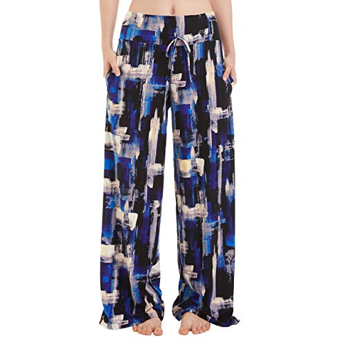 TNNZEET Pantalones largos de pijama para mujer, con bolsillos, pernera ancha, cordón suave, para correr, opacos, pantalones de deporte, yoga, tiempo libre azul XL