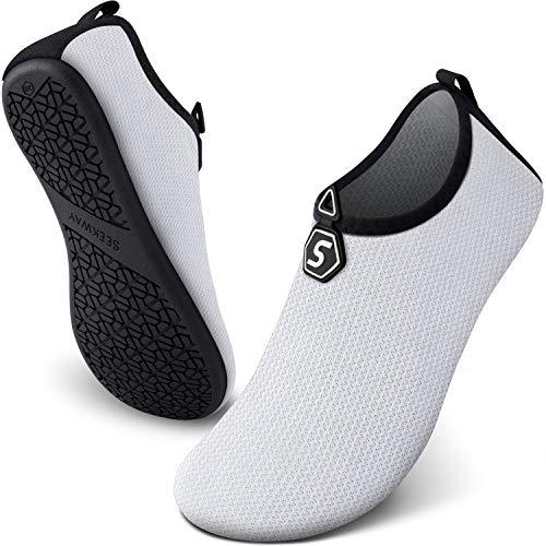 SEEKWAY Anti Slip Water Shoes for Women Men Summer Outdoor Beach Swim Surf Pool Snorkeling SK001 714 Drop White 6-7