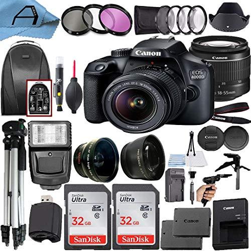 Canon EOS 4000D / Rebel T100 DSLR Camera 18MP Sensor + EF-S 18-55mm Lens + 2 Pack SanDisk 32GB Memory Card + Backpack + A-Cell Accessory Bundle (Black)