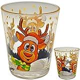 alles-meine.de GmbH Glas Becher / Kaffeebecher / Teetasse / Trinkbecher - süßes Rentier - Weihnachten - groß - 250 ml - Weihnachtstasse / Glühweintasse - Trinktasse Teetasse Kaff..