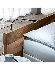 Secotec lampa LED do łóżka; czarna; lampa typu łabędzia szyja w zestawie