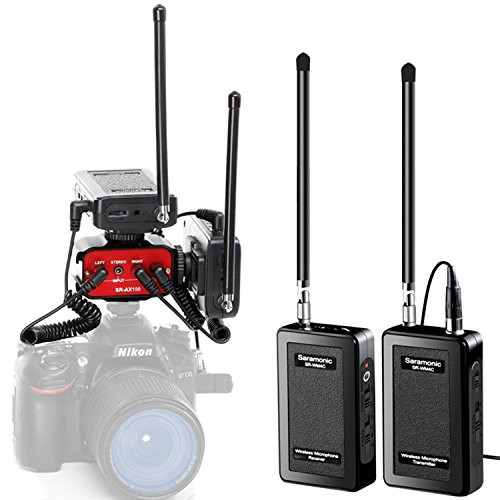 Saramonic SR-WM4C DSLR Bundle Wireless Lavalier Microphone System Two Transmitters and Two Receivers with Saramonic Audio Mixer SR-AX100 for Interviewing DSLR Camera Camcorders