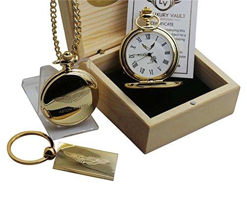 Luxe kluis ASTON MARTIN gouden Pocket horloge en sleutelhanger Gift Set in zaak vleugels 24 karaat verguld Logo DB9 James Bond