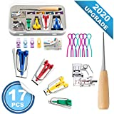 BesWlz Fabric Bias Tape Makers Set,1/4' 1/2' 3/4' 1'(6MM/12MM/18MM/25MM) 4 Sizes DIY Sewing Bias Tape Maker Tools Kit for Quilt Binding (Set of 17)