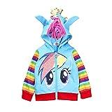 SummitLink Little Pony Girls' Rainbow Dash Hoodie (150(7-8 years), Luna(Blue))