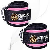 DMoose Fitness キックバック用のケーブルマシン用のアンクルストラップ、臀部トレーニング、レッグエクステンション、カール、股関節のアウトグダクタ(男性と女性用)、調節可能なネオプレンサポート ペア ピンク