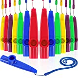 Gejoy 15 Pieces Plastic Kazoo with Lanyard Assorted Colors Party Kazoo Musical Instrument with Kazoo Flute Diaphragms for Gift Prize and Party Favors