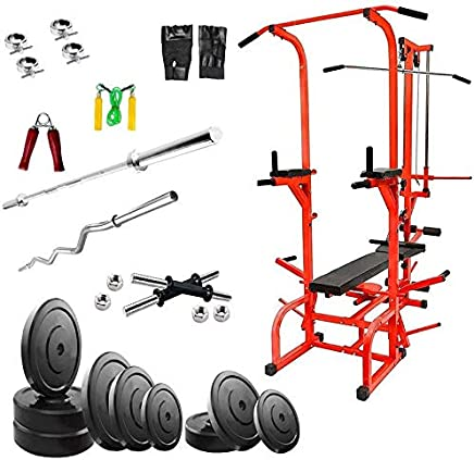 Rjkart ABS Tower in Red Color (Pipe Size 1.5 * 1.5 in INCH) Home Gym 20 in 1 Bench +Preacher+ 15 kg PVC Weight + 3 Ft Curl and 5 Ft Plain Rod+ Gym Accessories