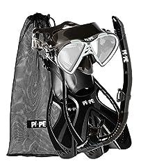 PI-PE Vuxen Aktiv Snorkel Set, Svart, ML/XL