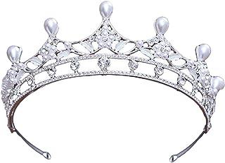 Frcolor strass matrimonio tiara per sposa Prom regina corona compleanno testa gioielli principessa capelli gioielli (argento)