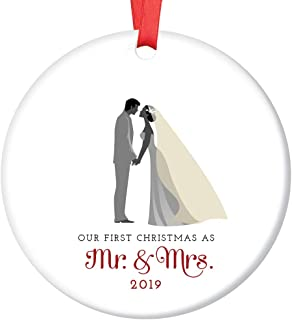 Mr & Mrs Ornament 2019 First Christmas Married Couple Ceramic Collectible Gift Idea for Bride & Groom Newlyweds 1st Holiday Season Wed 3