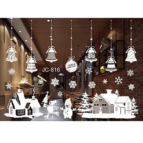 stickers muraux ,Moonuy Stickers muraux de Noël Noël Noël Noël bonhomme de neige Elk imperméable mur autocollants salle de séjour décoration de la fenêtre (D)
