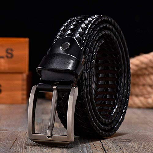 DSY Cinturón para Hombre, Cinturón Trenzado para Cinturones de Hombre 4.0Cm Ancho Straps de Lujo Mano de Diseño de Diseño 130 cm Doublecolor axilas/Negro / 130cm
